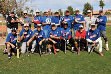 The Farmers Insurance Champs: Kneeling (left to right) Stevie Kay, Gary Alexander, Billy Kreisman, Jerry Smith, Jesse Washington, Stan Weiss and Art Hamer; standing (left to right) Brian Jette, Ed Sowney, Mgr. Gary Hillabolt, Rick Ebel, Chris Jensen, Jim Dunn, Dennis McCarthy, Jeff Jay and Dennis LePore (photo by Core Photography)