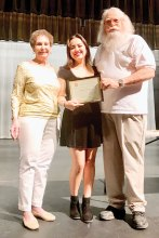 Pictured (left to right) Phyllis Novy, SLCT president; Emma Wang, recipient of $1000 scholarship; and Roger Edmonds, scholarship chairman