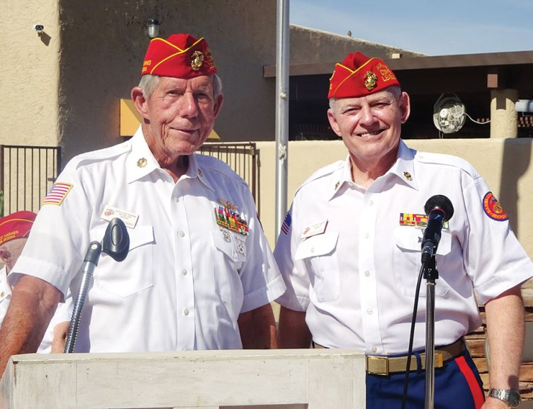 Guest speaker Dave Althoff (left) is introduced by League Commandant Dave Lott.