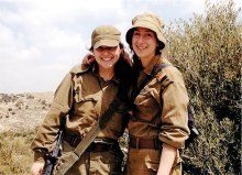 Lone Soldier Hadar Hamu (left) with Israeli IDF friend