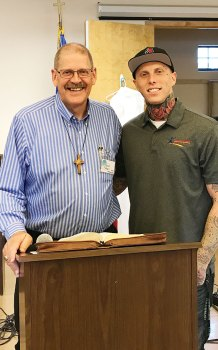 Tyler Bienvenn (right) with Pastor Gary Nibbelink