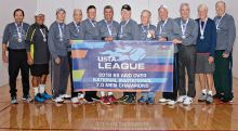 Left to right: Zev Yardeni, Marv Jensen, Bill Cunningham, Tom Snider, Mark Heth, Mario Dominguez, Captain Ken Stanley, Jerry Geiszler, Hal Davis, Phil Messer, Jake DeMoss, Jim Utter; missing from photo are Gary Porter and Tim Shum.