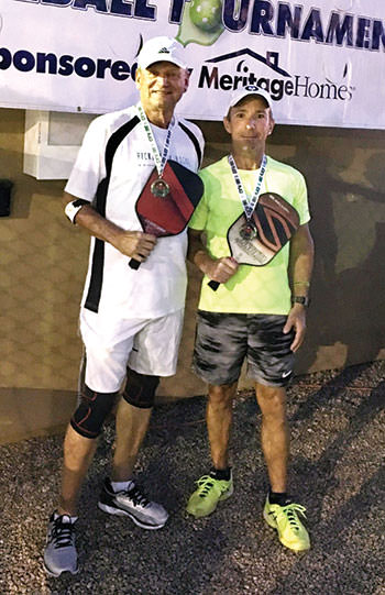 Mike Kovalchik, IronOaks, and Brian Kretschman, IronOaks, won the Silver medal in the Men's Doubles 3.5 division at the Mission Royale Tournament.