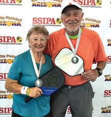 Bev Krueger, IronOaks, and Jack Lofgren, Phoenix, won the Silver medal in the 3.5, 80+ Mixed Doubles SSIPA Pickleball tournament in Surprise.