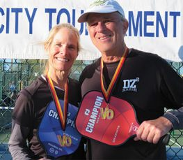 Dianne Zimmerman and David Zapatka won the Bronze medal in the 5.0 Mixed Doubles division at the Venture Out pickleball tournament.