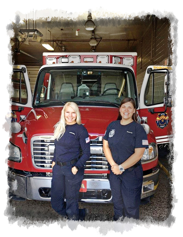 Aundria Boos (left), a military veteran, and Breanna Vik, a mother of three, are just one of the Arizona Fire & Medical Authority EMS crews that respond to your calls with highly-trained Paramedics and Emergency Medical Technicians. (Photo by Mark Garratt)