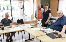 Longtime DAC members enjoying time together, painting and drawing