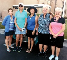 A few summer golfers: Judy Thompson, Linda Breitback, Fran Kelly, Sally Dixon, Suzanne Henderson. Other summer golfers not pictured are as follows: Susan Meer, Linda Liberti, Judy Frink, Julia Collier, Barb Hewitt, Denise Fleshner, Carol Knack, Patty Partridge, Denise Weibel, Eileen Moberg, Sandy Krediet, Deborah Greenwood, Rose Wang, Shirley Moore, Chloe Hanken and Margaret Johns.