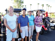 OLNGA ladies getting ready to hit the links (left to right): Helen Semple, Joyce Parker, Shirley Malick, and Denise Lott