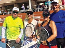 Champions in the Red Division (left) Ron Ryer and Judy Grefsheim; Runners-up (right) Barb Jorgensen and Bill Jenack