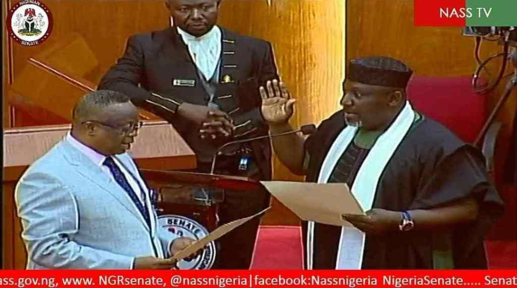 Okorocha takes oath of office in Senate