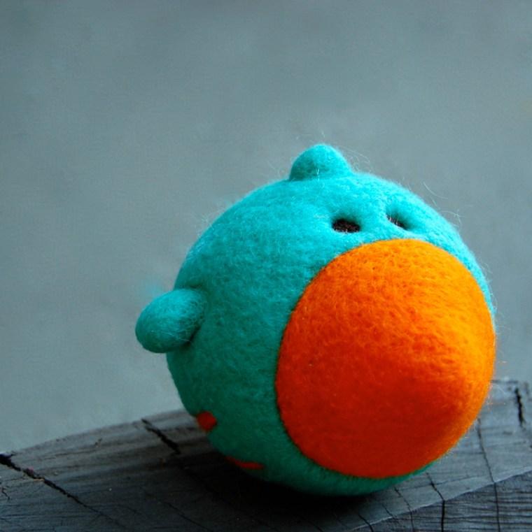 Needlefelted Bluebird Ball with Bell asherjasper