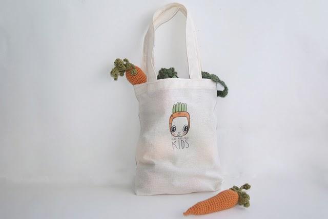 вязаные овощи в сумке от kokokokids