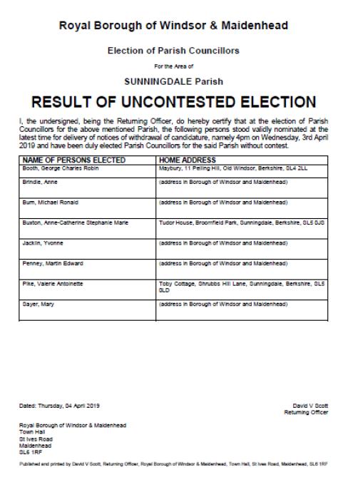 Sunningdale Uncontested Election 2019