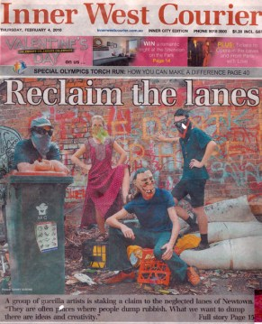 Inner West Courier article on Reclaim The Lanes