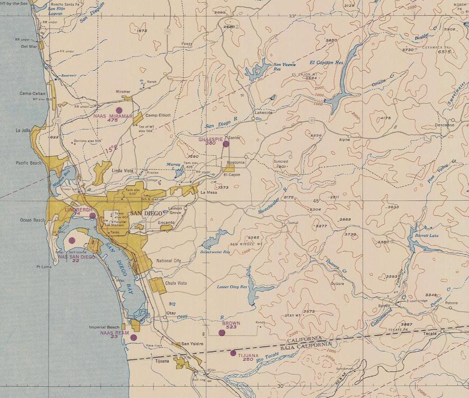 HD Decor Images » Historical Maps of San Diego San Diego 1950 bg or 1600   USAF Target Complex Chart Series 250  map no   0404 0004 250  from NOAA