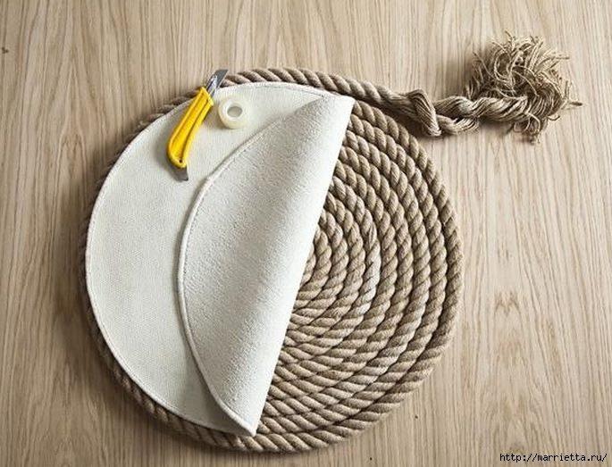 DIY Απλό Χαλί από σχοινι5