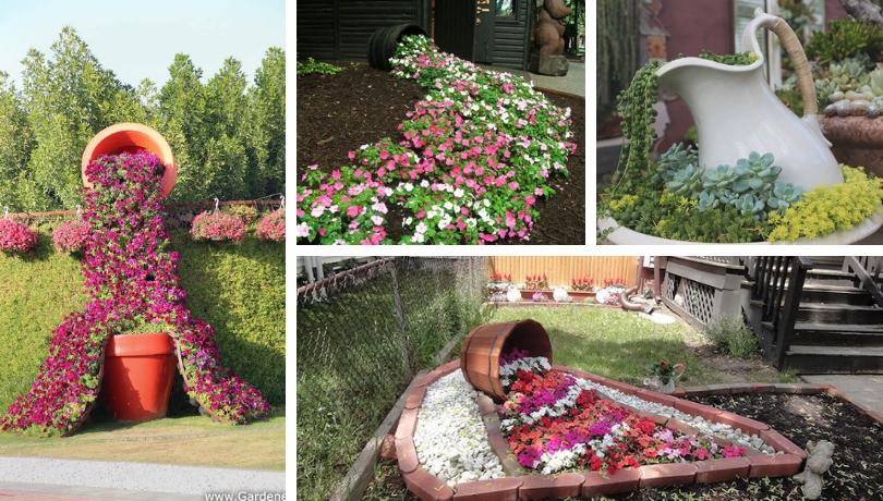 Όμορφη έμπνευση για ασυνήθιστες DIY ιδέες με γλάστρες που χύνονται στον κήπο