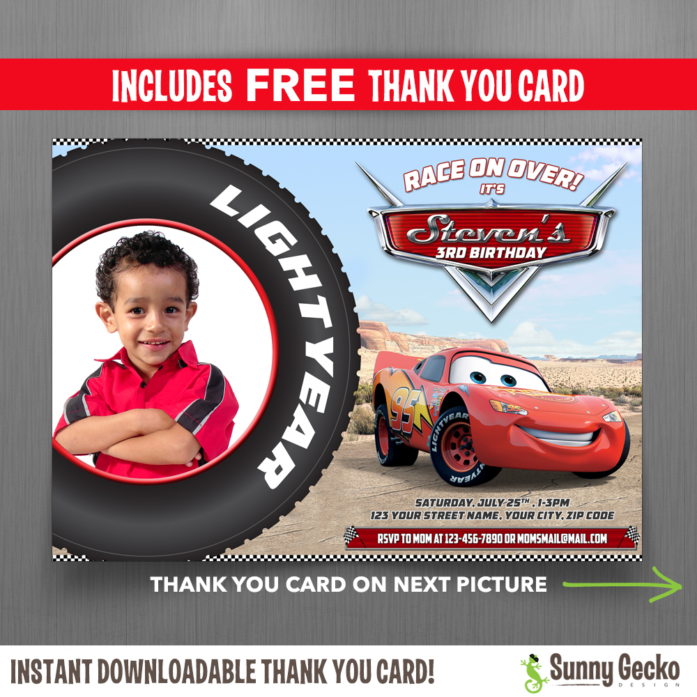 cars lightning mcqueen 7x5 in birthday party invitation with free editable thank you card