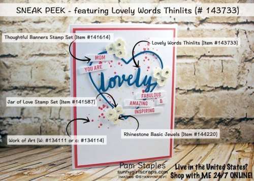 Lovely Words Thinlits Stamp It Tips for re-creating card created by Pam Staples. Visit sunnygirlscraps.com to place an order. #lovelywords #stampittips