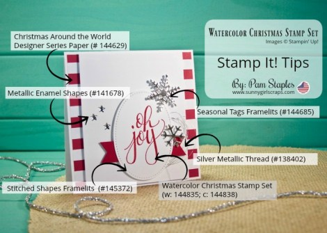 Stamp It! Tips for the handmade Card featuring the Watercolor Christmas Stamp Set from Stampin' Up! Card created by Pam Staples, SunnyGirlScraps. For details and to order, visit www.sunnygirlscraps.com