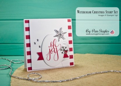 Handmade Card featuring the Watercolor Christmas Stamp Set from Stampin' Up! Card created by Pam Staples, SunnyGirlScraps. For details and to order, visit www.sunnygirlscraps.com
