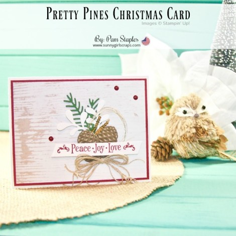 A Pretty Pines Inspirational Challenge Christmas Card designed by Pam Staples, SunnyGirlScraps. The card features the Pretty Pines Thinlits paired with the Wood Textures Designer Series Paper Stack. Place an order today and start making the same amazing card. For details, go to sunnygirlscraps.com #sunnygirlscraps #handmadecard #cards #diy #stampinup #prettypines #christmascard #christiancrafts #crafts #craft #papercraft #papercrafts #smallbusiness #ordertoday