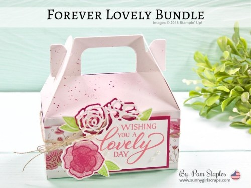 Mini Gable Box featuring the Forever Lovely Bundle by Stampin' Up! with Lovely Lipstick and Granny Apple Green