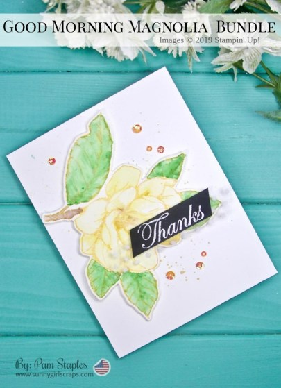 Photo of a card featuring a large Magnolia from the Good Morning Magnolia Stamp Set by Stampin' Up! Thank You Card.