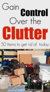 Get rid of the clutter. 50 items to get rid of today,