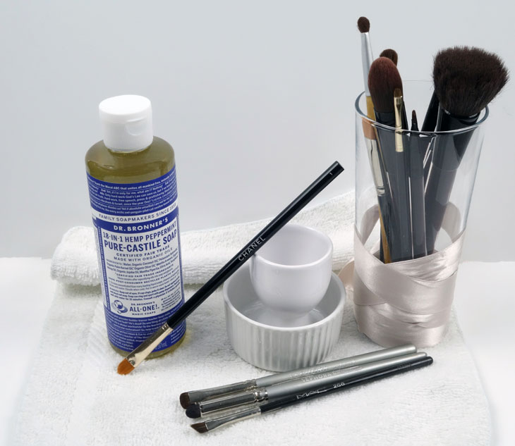 Dr Bronner's Castile Soap Uses Product Review UK Clean Makeup Brushes