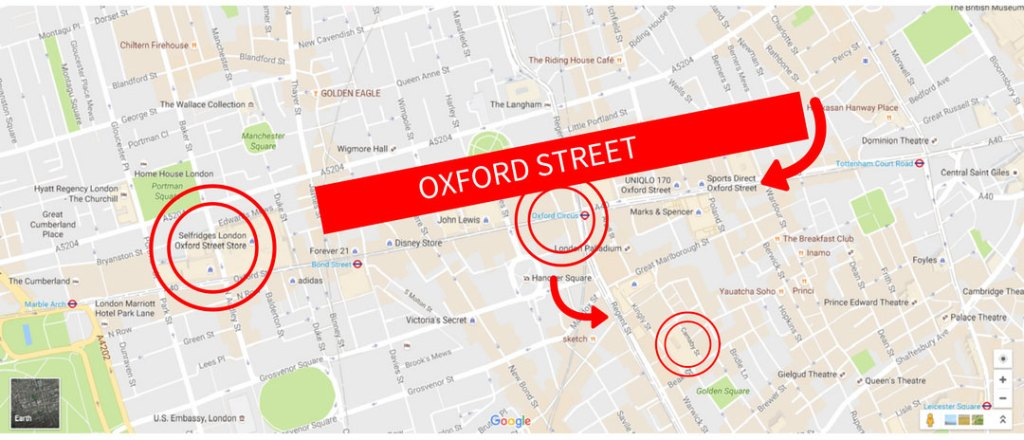 Shopping in London Guide Oxford Street Regent Street Selfridges Map