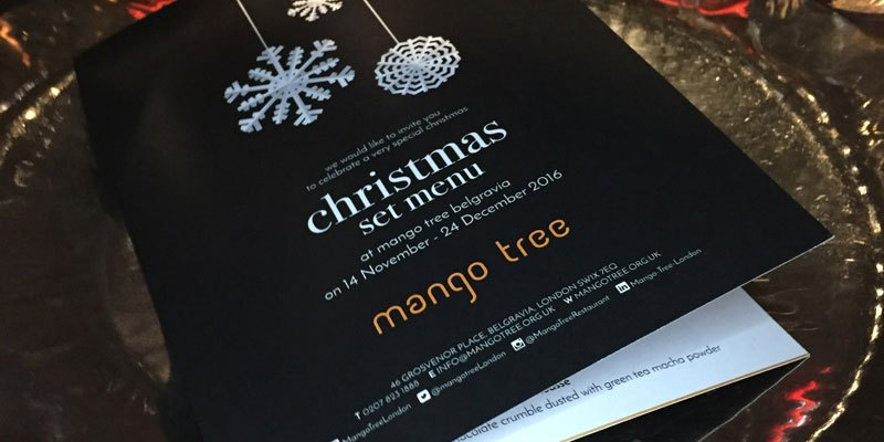The Mango Tree Christmas Menu