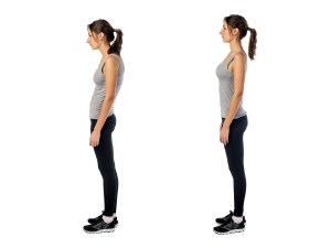 Standing woman demonstrating good posture and bad posture