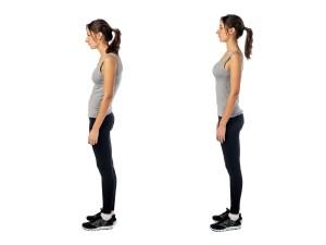 Standing woman demonstrating good posture and bad posture