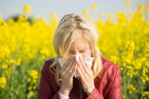 Woman with hay fever sneezing