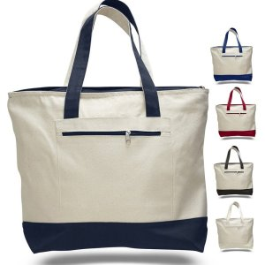 Heavy Canvas Zippered Tote Bag