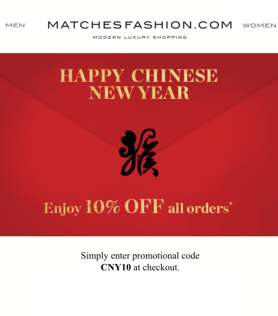matchesfashion china new year 10off 2016