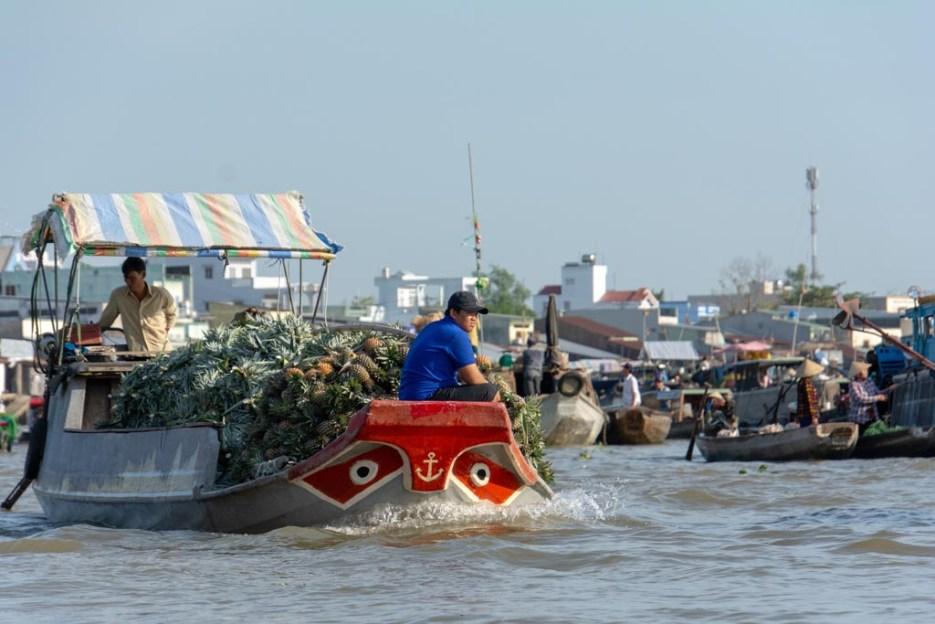 tamron 18-400 mm beispielfoto reiseobjektiv mann und ananas auf boot vietnam