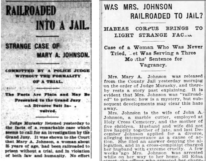 Scandal breaks: Mrs Johnson's case makes the news, 11 March 1899. SF Chronicle (L) and SF Call.