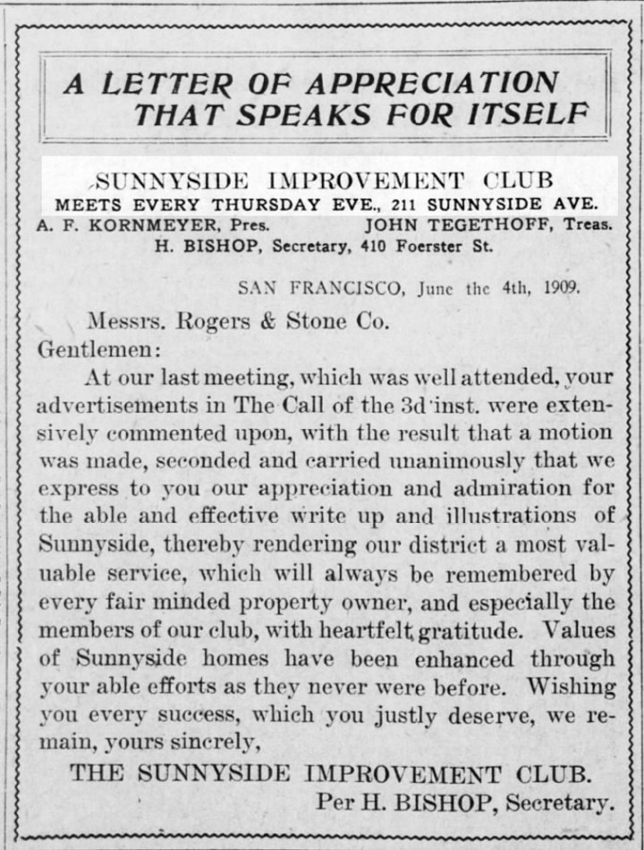 Notice about regular neighborhood meetings at 211 Sunnyside Ave. SF Call, 11 June 1909. From Newspapers.com.
