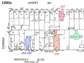 Modified 1990s Sanborn map: house numbering changes: 219 Joost Ave is now 257 (pink); 230 Sunnyside Ave is now 258 Monterey (orange); and 250 Sunnyside Ave is now 284 Monterey.