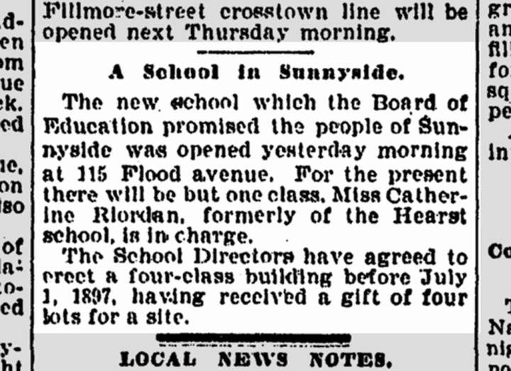 Sunnyside School opens on 3 Feb 1896, in the house at 115 Flood Ave (now 143). SF Chronicle, 4 Feb 1896. From newsbank.com.