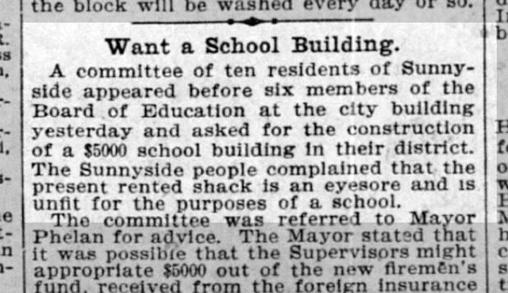 """""""Want a School Building"""" SF Call, 16 October 1898. From newspapers.com."""