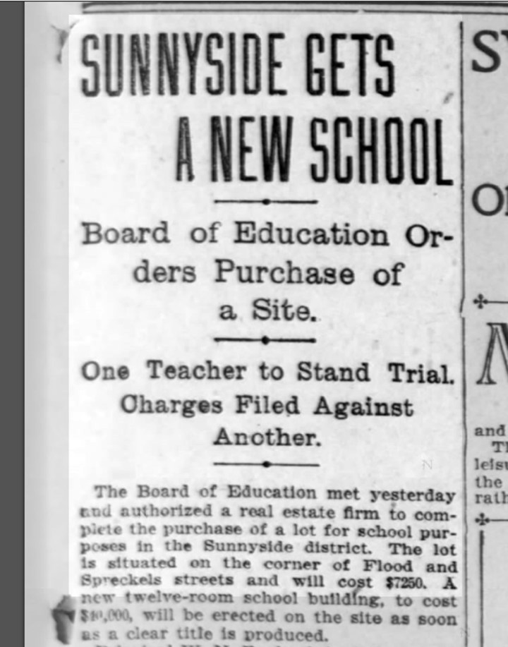 """Sunnyside Gets a New School"" SF Call, 21 November 1901. From newspapers.com."