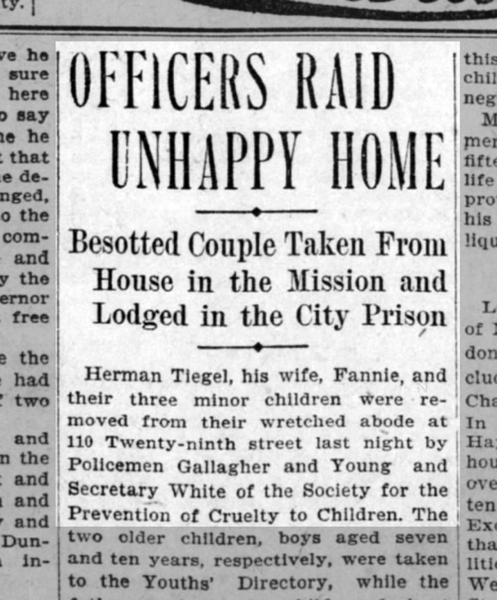 The Tiegel saga comes to a terrible end. From SF Call, 17 July 1904. From Newspapers.com.
