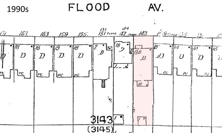 1990s Sanborn map showing same house on Flood Avenue, now numbered 143. From propertymap.sf-planning.org.