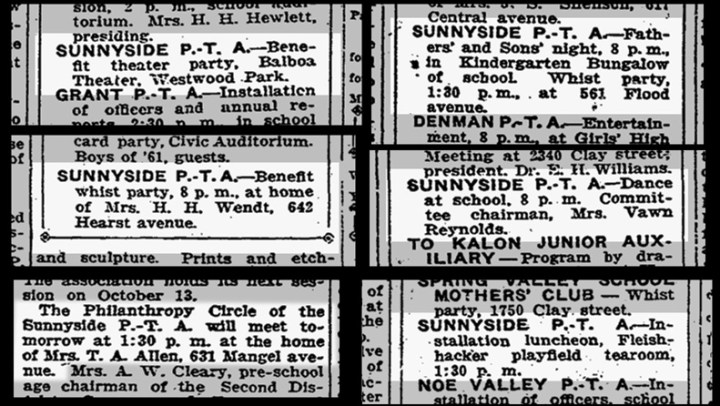 SF Chronicle, various dates in 1925. From Newsbank.com.
