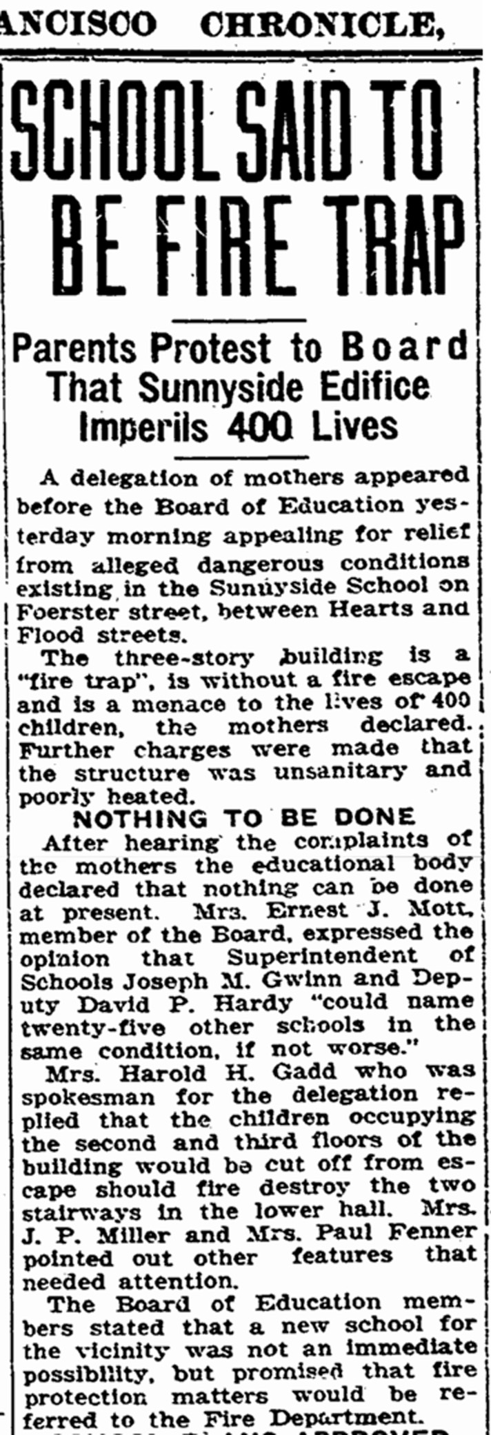 """School Said to be Firetrap,"" SF Chronicle, 23 July 1925, page 3."