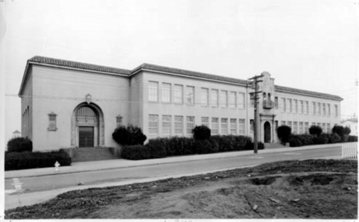 Undated photo of second school building, built 1927. Likely taken late 1920s. From San Francisco History Center, AAD-4239.